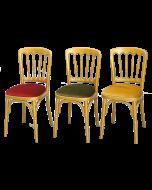 Luxe stoel Napoleon  goud met diverse kleuren zittingen