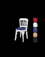 """Luxe stoel """"Napoleon"""" wit met diverse kleuren zittingen."""