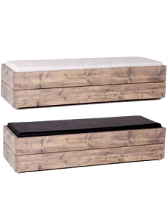 Lounge Bank Nature Line met zwart of wit kussen afmeting 190*40*40 cm