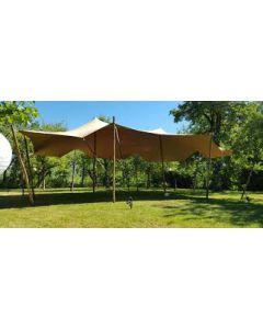 Stretcht tent 10 x 6 meter met beton met steiger houten ombouw